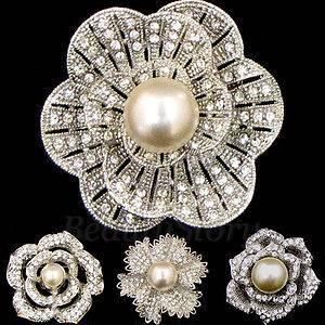 1pc Rhinestone crystal flower bouquet brooch pin bridal