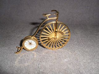 BULOVA Miniature Collectible Clock B0513 Penny Farthing Bicycle