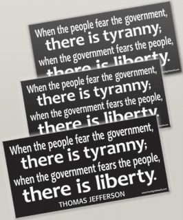PACK Bumper Stickers LIBERTY/TYRANNY Jefferson Quote (Mitt Romney