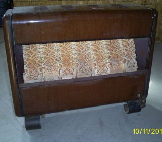 Vintage Enamel Gas Heater Brown with Ceramic Bricks
