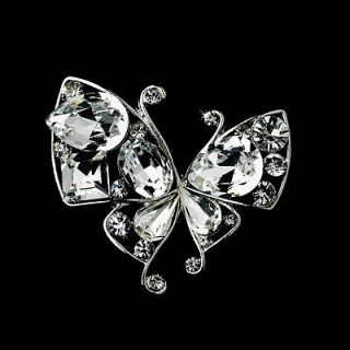 Silver Clear Crystal Butterfly Brooch or Hair Comb Cake Brooch