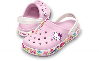 CROCS CROCBAND HELLO KITTY BUBBLEGUM / OYSTER KIDS GIRLS SLINGBACK