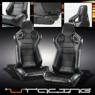 BLACK PVC LEATHER RECLINABLE SLIDERS SPORT RACING BUCKET SEATS PAIR