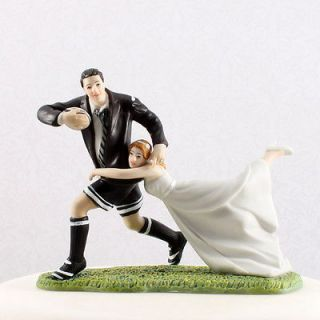 Wedding A Love Match Rugby Bride and Groom Couple Figurine Cake Topper