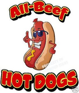 All Beef Hot Dogs Hotdogs Restaurant Cart Concession Food Truck Decal