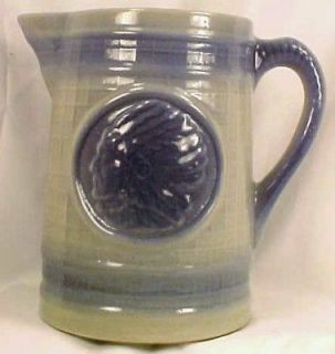 Antique INDIAN in WAR BONNET SALT GLAZE PITCHER Beauty