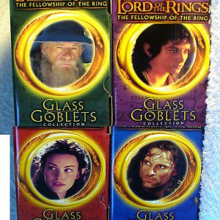 Burger King 2001 LOTR the Lord of the Rings 4 Goblet set Glass New