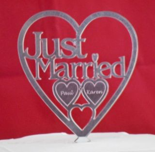 JUST MARRIED ** in mirror acrylic heart WEDDING CAKE TOPPER