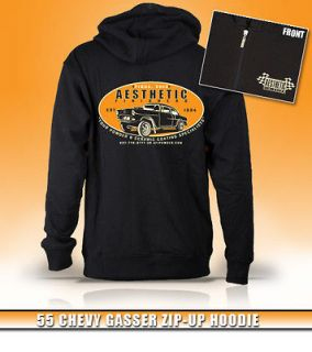 Aesthetic Finishers 1955 55 Chevy Gasser Hot Rod Zip up Hooded Hoodie