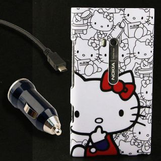Faceplate Case+Car Charger for Nokia Lumia 900 Hello Kitty Snap On AT