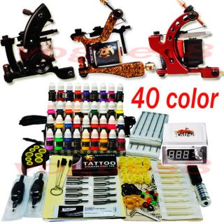 Complete Tattoo Kit 3 Machine Guns 40 Ink Set Equipment Needle Power