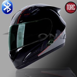 TORC FULL FACE MOTORCYCLE BLUETOOTH HELMET BLACK CARBON FIBER S M L XL