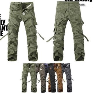 NEW MENS CASUAL MILITARY ARMY CARGO CAMO COMBAT WORK PANTS TROUSERS 28