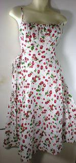 TOP STARING CHERRY DRESS, ROCKABILLY RETO STYLE CLOTHING DRESS (NEW M
