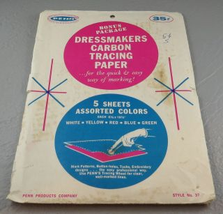 Vintage Penn 5 Sheets Assorted Colors Dressmakers Carbon Tracing Paper