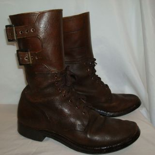 Genuine WWll Brown Leather Combat/Jump Boots Double Buckle sz 9 1/2 C