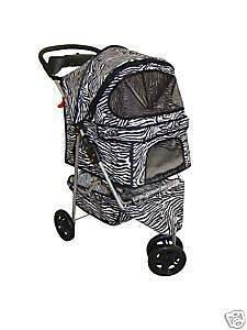 New BestPet 3 Wheel Zebra Pet Dog Cat Stroller