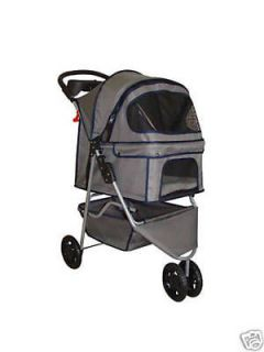 Gray 3 Wheels Pet Dog Cat Stroller w/Rain Cover