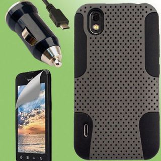 Case+Car Charger+Screen Protector for LG Marquee Optimus Black A Cover