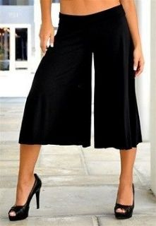 New BLACK Yoga Crop GAUCHO Pants Casual Pants XL 14/16 1X Wide Leg