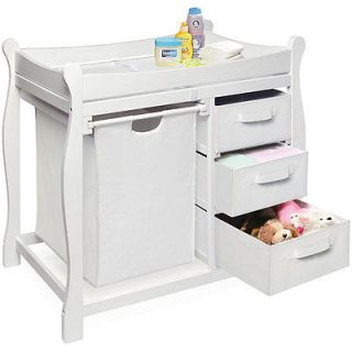 White Changing Table with Hamper an   White Changing Table with Hamper