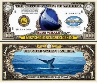 Endangered Blue Whale Dollar bills (5/$2.50)