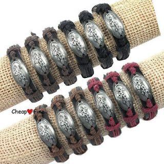 Lots 12pcs colorful Genuine Black Leather Hemp Lizard Charm Bracelets