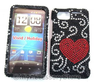 Vivid 4G Red Hearts Rhinestones Diamond Glitter Bling Phone Case Cover