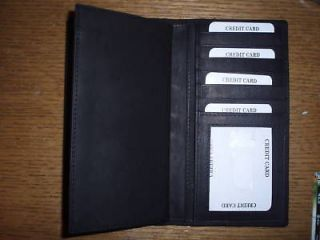 Black Genuine Leather Checkbook Cover Wallet New 3232
