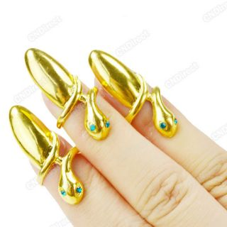 hot sale 3pcs Gold Plated False Nails Snake Jewelry Finger Ring New