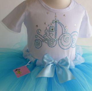 6X Cinderella costume GLITTER tulle TUTU rhinestone t shirt Disney
