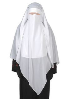 White triangle niqab veil Hijab burqa islamic clothes