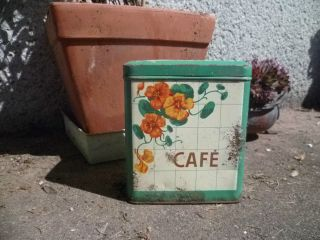 Nouveau Style Vintage FRENCH TIN shabby BOX CANISTER  CAFE  coffee
