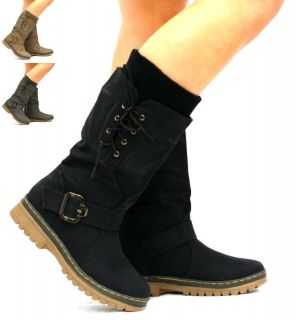 A76 WOMENS LADIES BLACK LACE UP MID CALF SOCK GRIP HARD SOLE WINTER