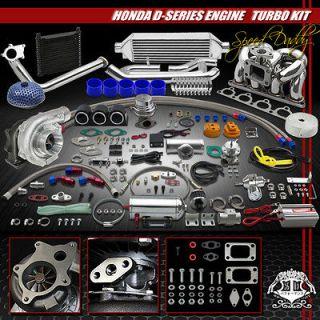 /T4 TURBO KIT INTERCOOLER+RAM HORN MANIFOLD HONDA D15/D16 CIVIC/CRX A