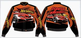 Size XL 10 12 Hot Wheels Black Orange Nascar Jacket Coat Speed Demon