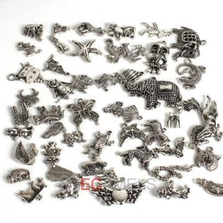 Hot sale Mixed Style Tibetan Silver Animal Zoo Charms Pendant To
