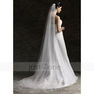Pure White Wedding Cathedral Bridal Bridesmaid Veil Mantilla w/ Comb