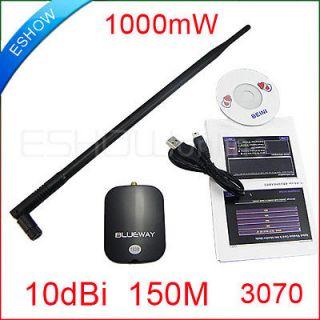 WiFi Wireless Network Card Adapter USB 9000G 1000mW 10dbi Antenna
