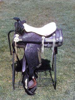 15 BIG W BLACK PARADE WESTERN HORSE SADDLE w/ DIAMONDS & TAPS