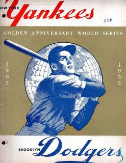 1953 OFFICIAL WORLD SERIES PROGRAM NY Yankees Vs Brooklyn Dodgers VG