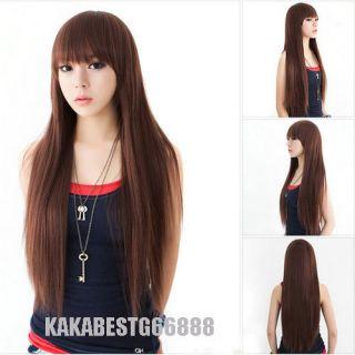 Korean style Elegant Lady Girls Long Straight natural Dark Brown