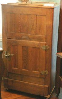antique oak ice chest or box with original Baldwin hardware, brand