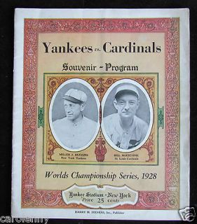 Yankees Cardinals World Series Program Ruth Gehrig Unscored VG/EX