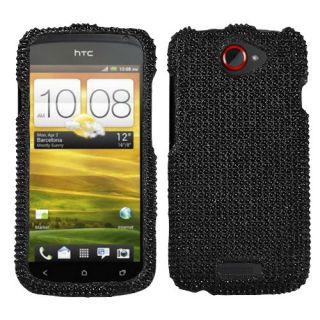 For T Mobile HTC One S Case Cover Bling Rhinestones Black Diamond *