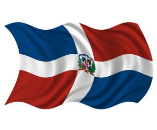 Dominican Republic Waving Flag Wall Art Car Vinyl Bumper Sticker Decal