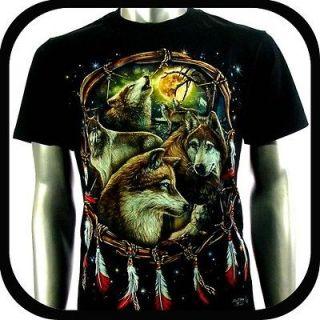 Shirt Biker Punk Tattoo C106 Sz M Indie Rock Graffiti Wolf Rider