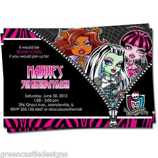 Monster High Invitation * Birthday Party Custom Invites Photo 4x6 or