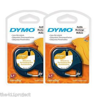 2PK Dymo Letra Tag 18771 IRON ON 1/2 Labels for Clothing Fabric