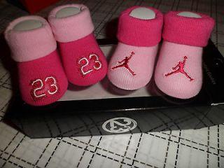 NIB NIKE AIR JORDAN BABY INFANT GIRLS CRIB SHOES BOOTIES SOCKS 0 6 M
